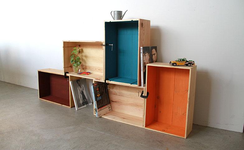 【ワイン箱DIY】カラフルな木箱シェルフの作り方